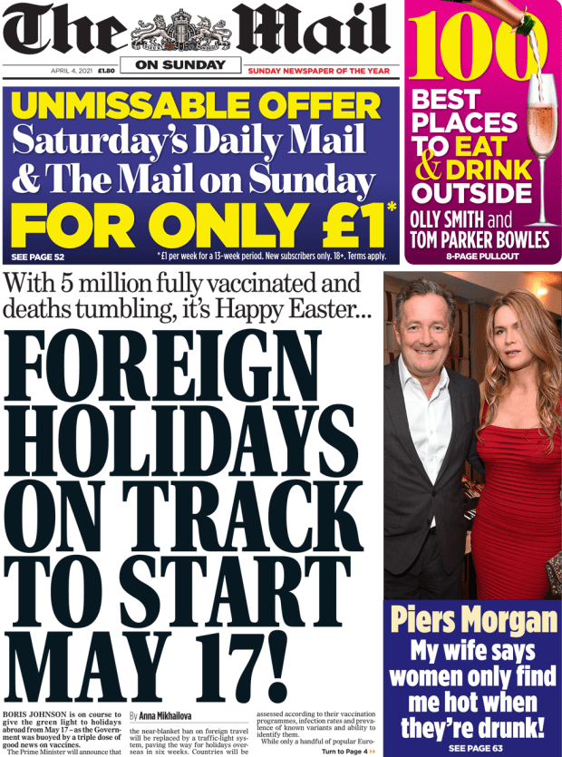 Mail on Sunday front page 4 April 2021