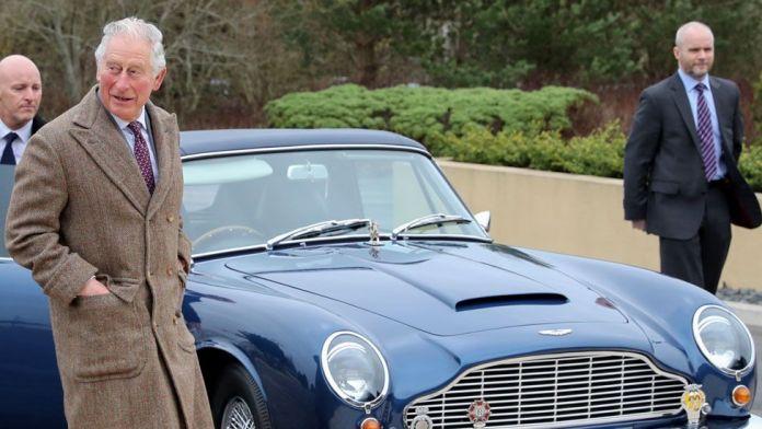 Prince Charles and his Aston Martin DB6 Volante