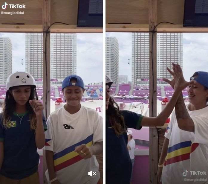 Screenshots of a TikTok dance performed by skateboarders Rayssa Leal and Margie Didal