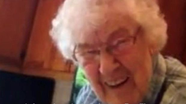 Terri's granny Bridget during a Facetime call