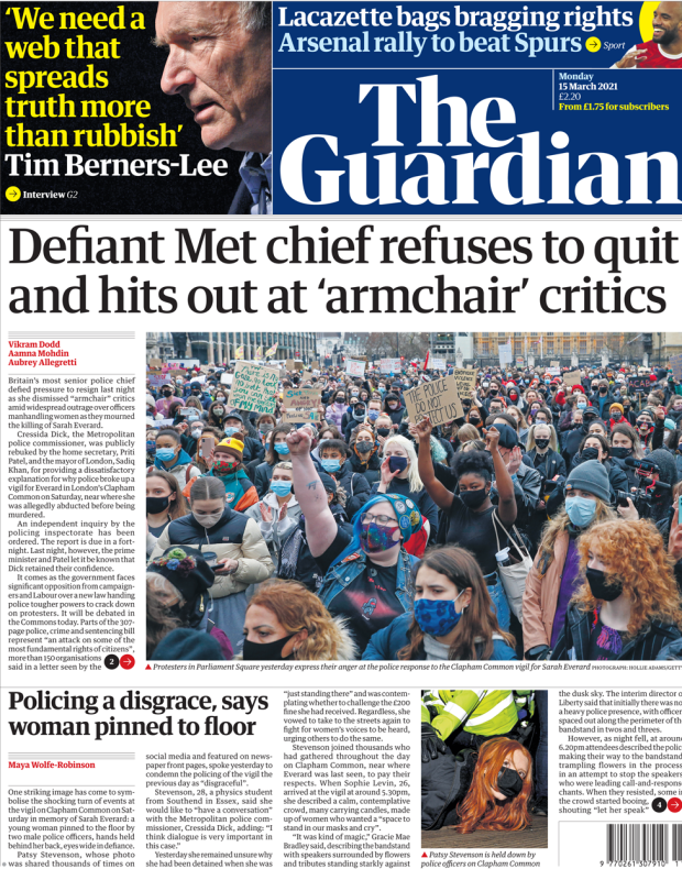 The Guardian front page 15 March 2021