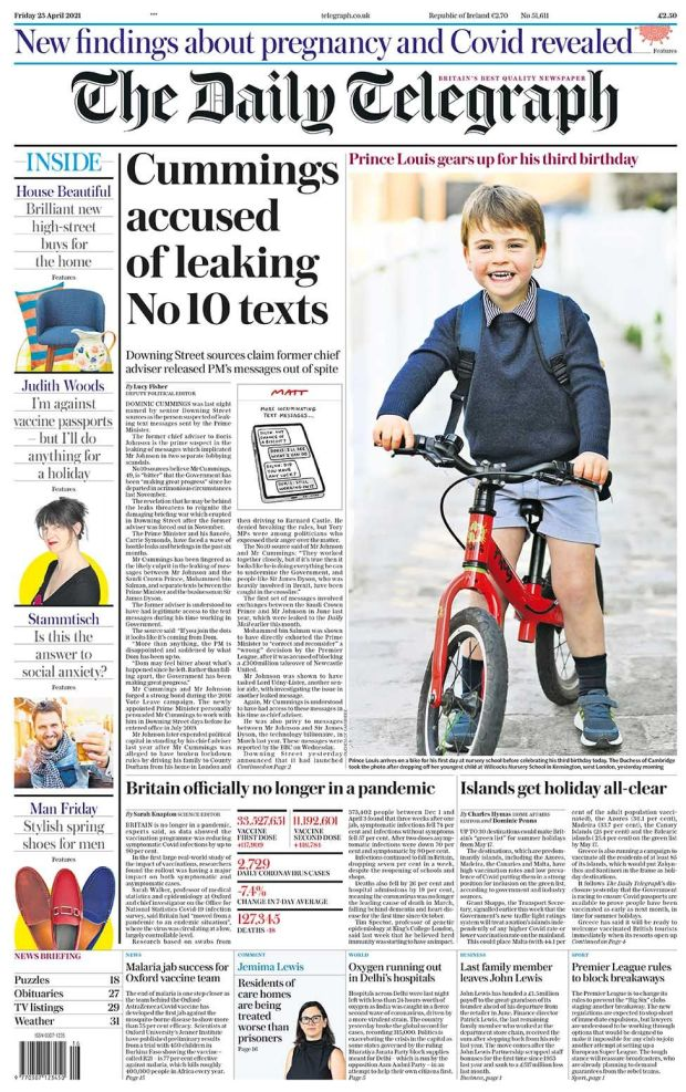 The Daily Telegraph front page 23.04.21