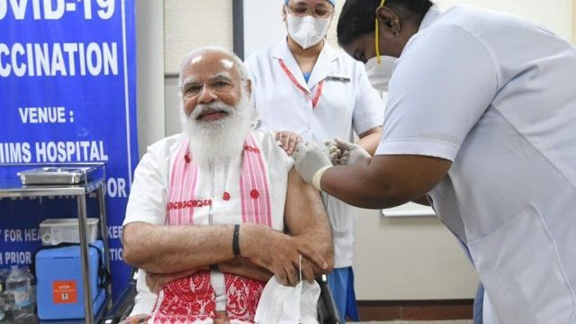 Indian PM Narendra Modi received the first dose the Covid-19 vaccine on Monday