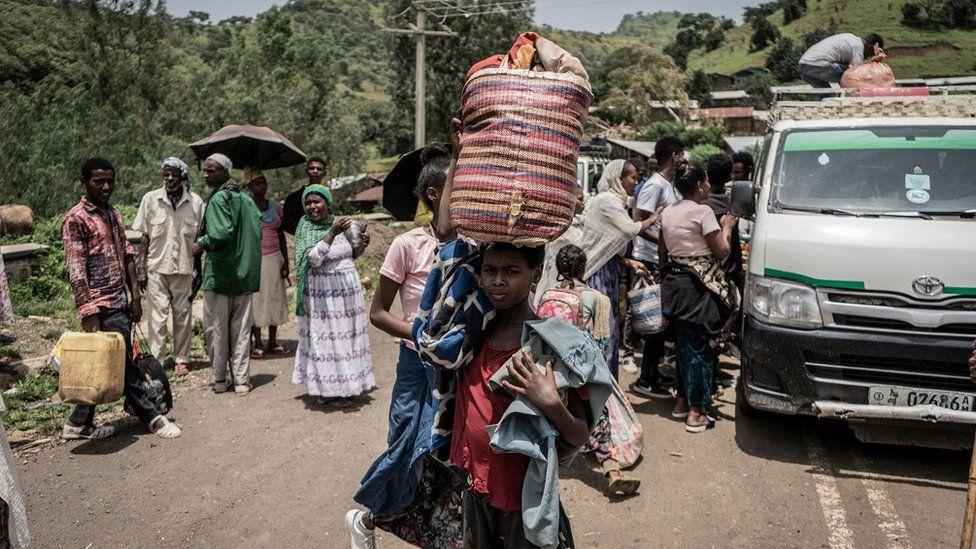 Civilians fleeing fighting in Zarima, Amhara region of Ethiopia