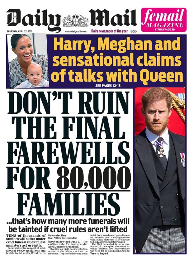 Daily Mail front page 22.04.21