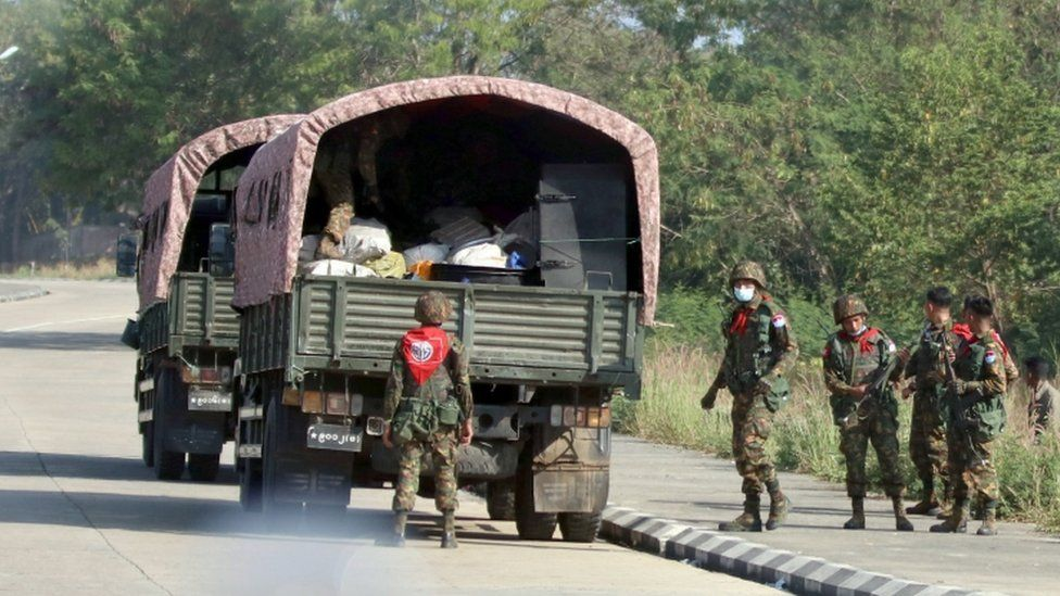 Soldiers on the road in Nay Pyi Taw, Myanmar, 1 February 2021