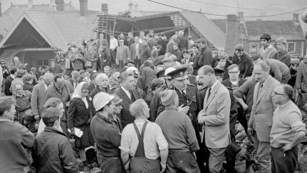 The Duke of Edinburgh talked to the police and community in Aberfan just hours after disaster struck