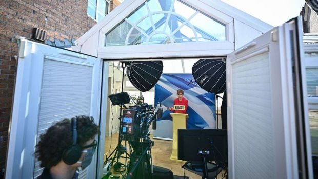 Scotland's First Minister and leader of the Scottish National Party (SNP) Nicola Sturgeon, launches the party's Election Manifesto in Glasgow on April 15, 2021, during campaigning for the Scottish Parliamentary elections.