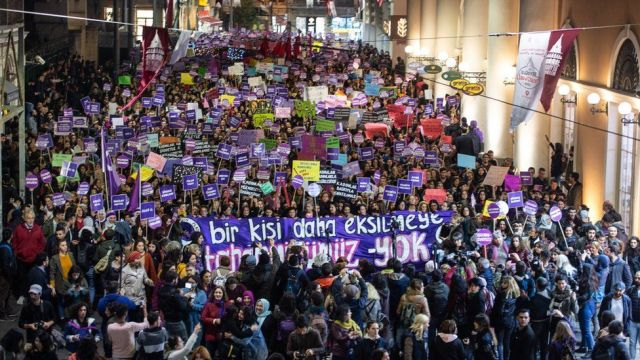 Demonstrators gather to protest against femicide and violence against women on 25 November, 2019 in Istanbul, Turkey.