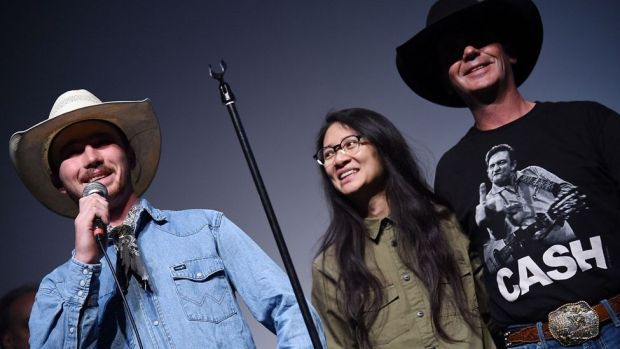 Zhao with Brady and Tim Jandreau, who starred in her 2017 film The Rider