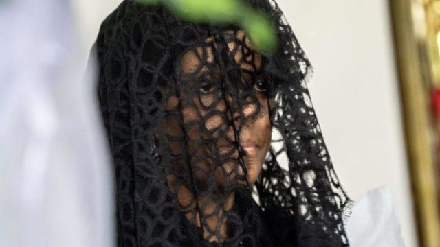 Grace Mugabe sit at funeral wake of her husband the late former Zimbabwean president Robert Mugabe on September 12, 2019, at the Blue Roof mansion in Harare