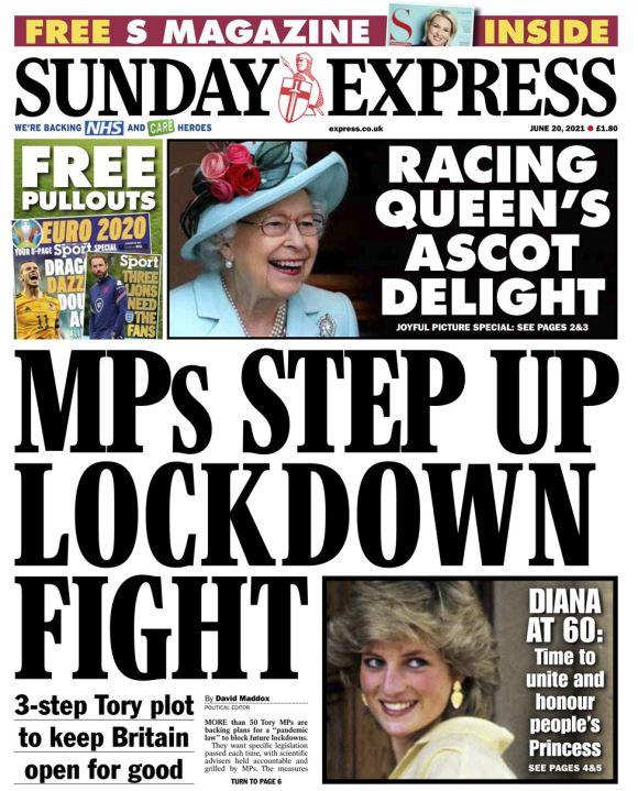 Sunday Express front page - 20/06/21