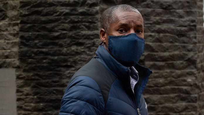 Kenroy Atkinson, the brother of former footballer Dalian Atkinson, arrives at Birmingham Crown Court
