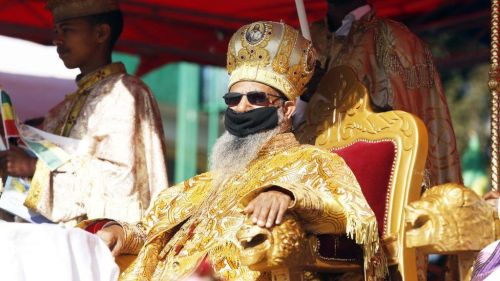 Ethiopian patriarch of the Ethiopian Orthodox Tewahedo Church Abune Mathias attends the Timkat celebrations, which marks the Baptism of Jesus in the Jordan River, at Jan Meda Sports Field, in Addis Ababa, Ethiopia on January 19, 2021