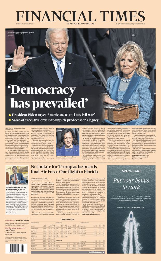 Financial Times front page - 21/01/21
