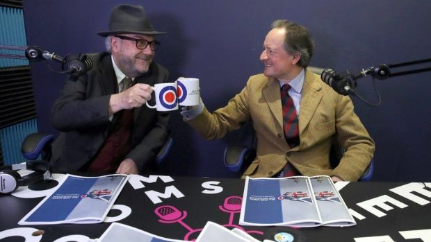 George Galloway and Jamie Blackett toasted the launch of the Alliance 4 Unity party's manifesto at a studio in Glasgow.