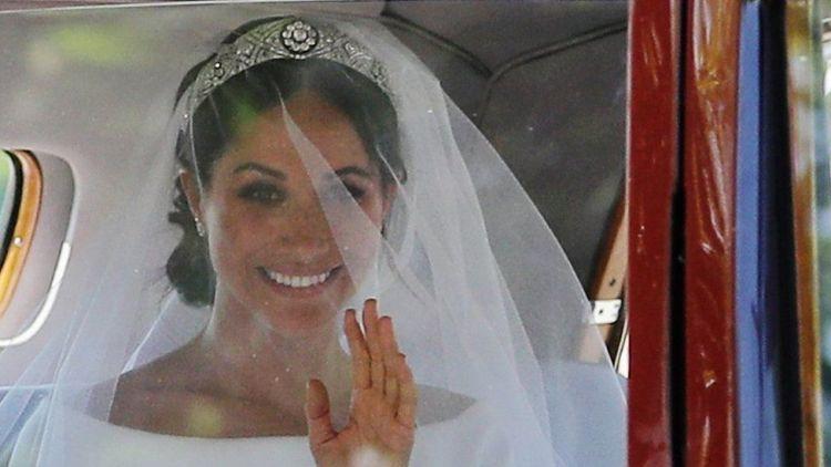 Meghan Markle arriving at her royal wedding ceremony