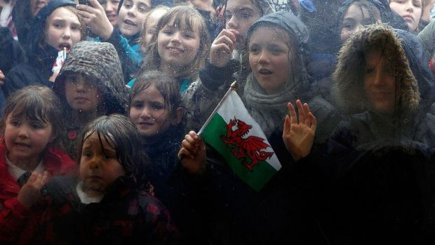 Children looked through a marquee window to see the duke and the Queen at the Diamonds In The Park festival in Glanusk Park in April 2012