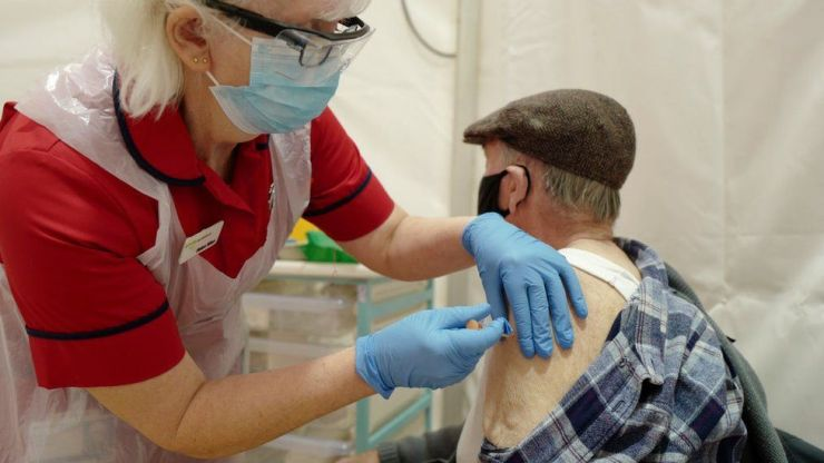 A man being vaccinated with the Oxford-AstraZeneca vaccine on 1 Feb in Cornwall