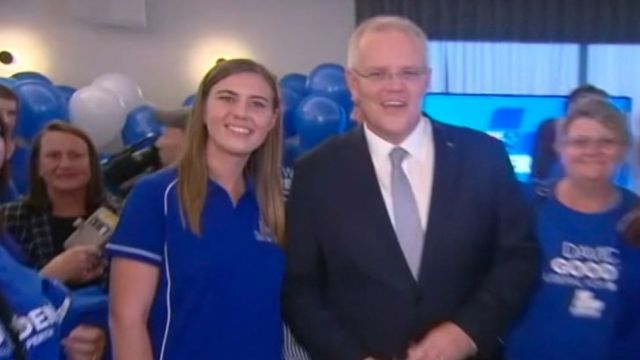 Ms Higgins, pictured here with Prime Minister Scott Morrison during a party fundraiser