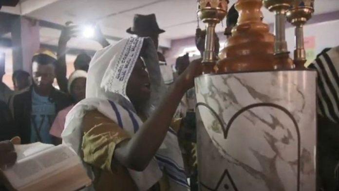 Igbo Jewish boy performing his barmitzvah