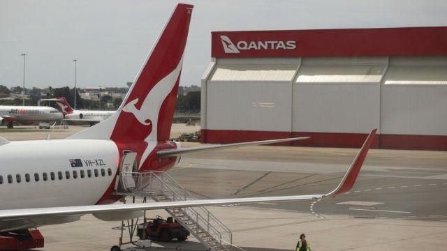 A Qantas flight at an airport