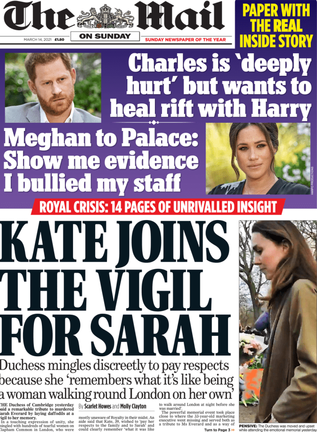 The Mail on Sunday front page 14 March 2021