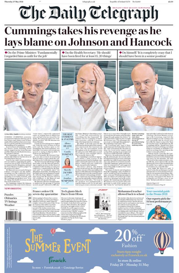 Daily Telegraph 27 May