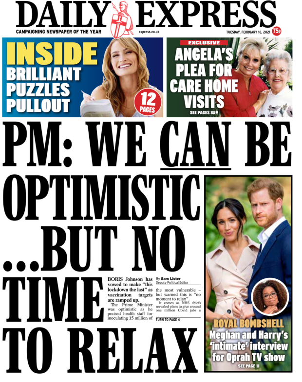 Daily Express 16 February 2021
