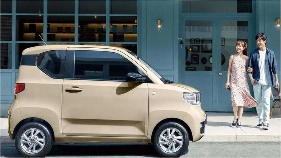 The Wuling Hong Guang Mini EV, an electric car that has quickly won over Chinese drivers.