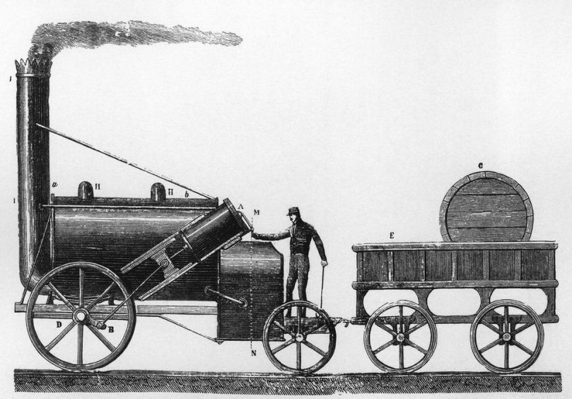 The Rocket, a steam locomotive designed and built by George and Robert Stephenson