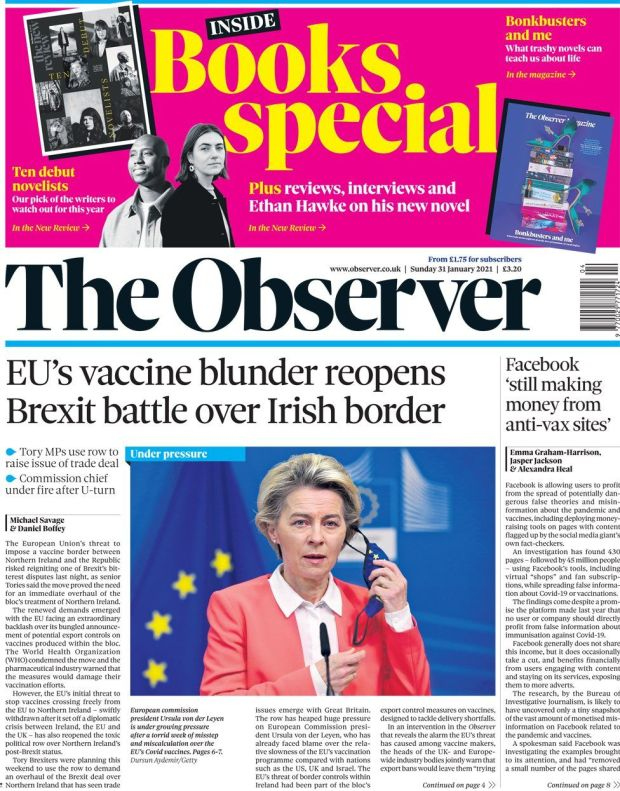 The Observer front page 31 January 2021