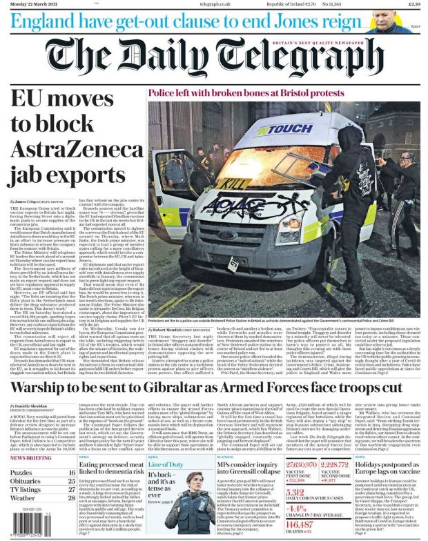 The Daily Telegraph 22 March