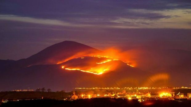 Fire on Mourne Mountains