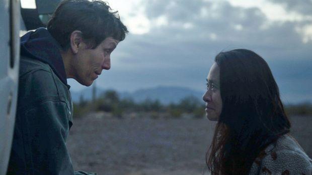 Frances McDormand (left) with Nomadland director Chloe Zhao
