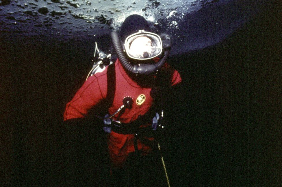 Charles diving under the arctic ice at Resolute Bay, Canada