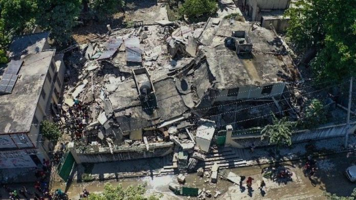 A drone photograph of the damage caused by a 7.2 magnitude earthquake in Les Cayes
