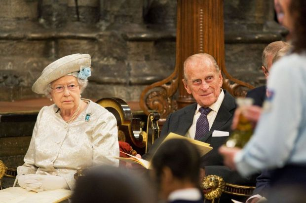 Queen Elizabeth II and the Duke of Edinburgh as they attend a service at Westminster Abbey in central London to mark the 60th anniversary of the Queen's coronation
