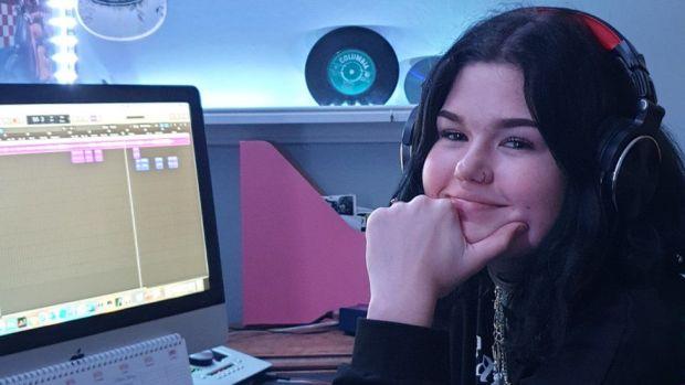 Anna Mae Kelly creating a demo track