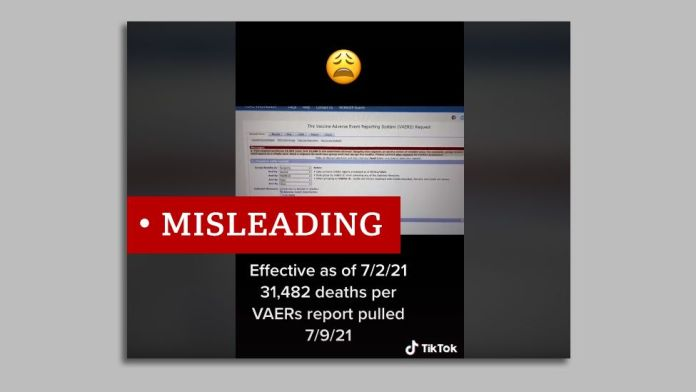 Screenshot of a tiktok video picturing the Vaers reporting system. We labelled misleading.