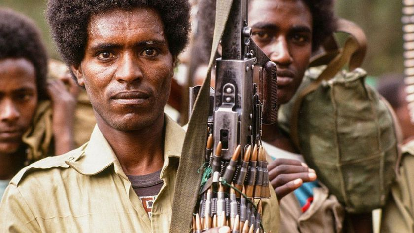 Defeated and injured Ethiopian soldiers after the fall of Mengistu Haile Mariam