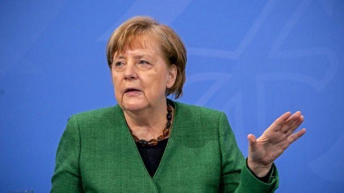 German Chancellor Angela Merkel speaks at a news conference