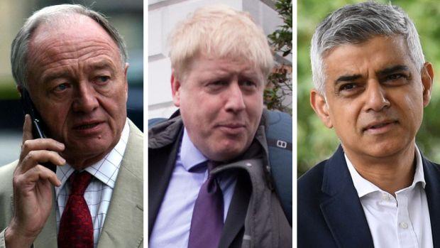 Composite image of Ken Livingstone, Boris Johnson and Sadiq Khan