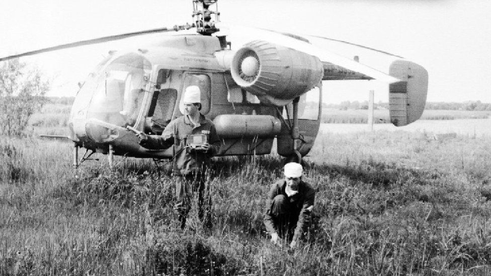 Gennady Laptev and his colleague working in Chernobyl in 1986