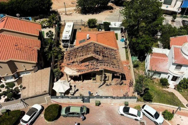 A drone picture shows the house of the El-Gazar family which was damaged after a rocket was fired from Gaza towards Israel, in Sderot, southern Israel May 15, 2021