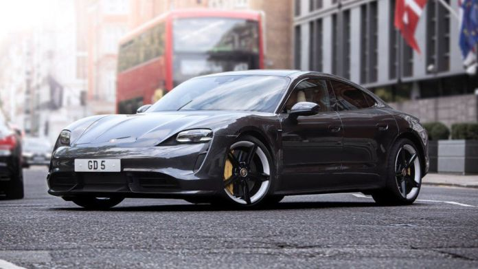 The Porsche Taycan all-electric sports car