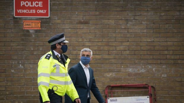Labour's Mayor of London Sadiq Khan on a walkabout with Metropolitan Police officers