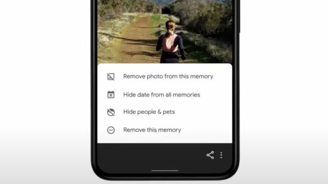 A menu asking about removing the photo from an AI compiled album