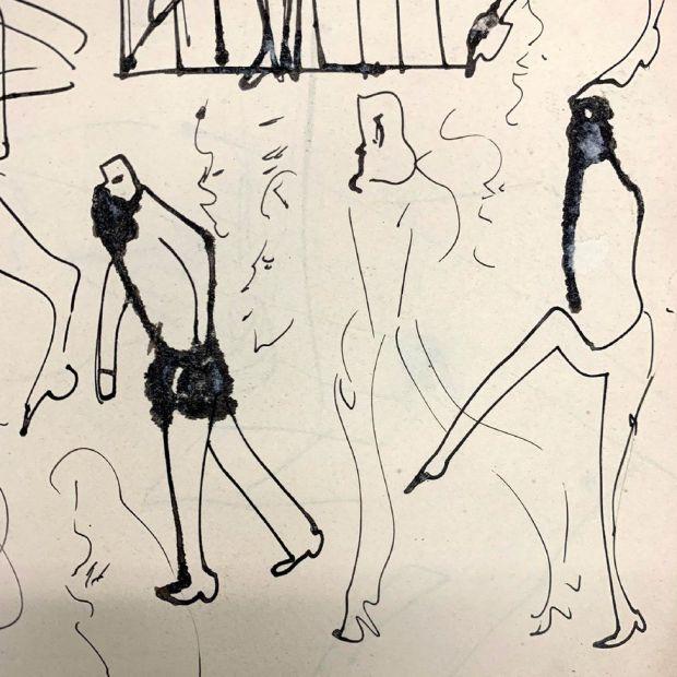 A sketch by Franz Kafka showing figures walking