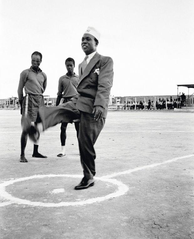 Kwame Nkrumah kicking a football